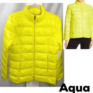Aqua Water-Resistant Puffer-Coat Zip Jacket